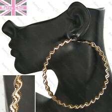 "4""BIG TWIST GOLD FASHION HOOPS metal EARRINGS 10cm hoop PATTERN twisted aztec"