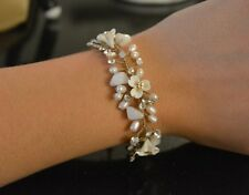 Exquisite delicate gold beaded diamond bracelet, Bhldn brand, excellent quality.