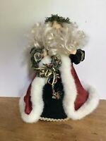 """12"""" Santa Christmas Tree Topper Plastic Head Red and White Coat Wreath Holiday"""