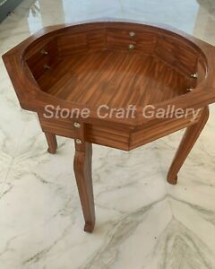 """18"""" Marble Coffee Table Top Wooden Stand"""