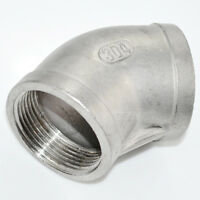 "SS304 45 Degree Elbow 1-1/4"" 1.25"" Female Fitting 304 Stainless Steel Pipe NPT"