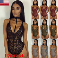 New Womens Choker Neck Lingerie Stretch Bodysuit Lace Leotard Backless Jumpsuit