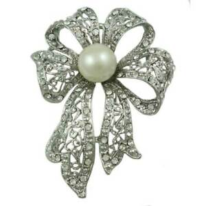 Large Silver Filigree Crystal Bow with White Pearl Brooch Pin - PRP261
