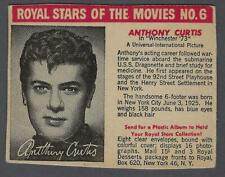 1950 Royal Stars of the Movies F291-3 Trading Card #6 Anthony Curtis