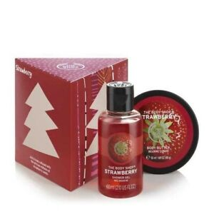 The Body Shop Gift Cube Set Strawberry Treats Shower Gel + Body Butter