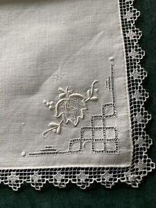"12 Fabulous Madeira Ivory Linen Crochet Lace Edge Napkins 16"""