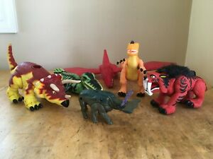 """Plastic Dinosaur moveable parts Lot of 6 mixed brands 3"""" -12"""""""