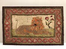 New listing 19th Century American Hand Hooked Cotton & Wool Lion Motif Folk Art Rug