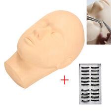 Mannequin Flat Head with Practice False Eyelashes for Training Eyelash Extension