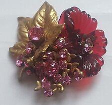 Vtg Signd MIRIAM HASKELL Molded Glass Flower and Brass Leaf w/ Rhinestone Brooch