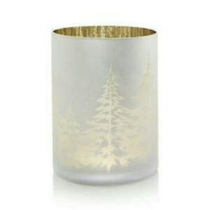 YANKEE CANDLE WINTER TREES FROSTED GOLD MERCURY GLASS JAR HOLDER NIB