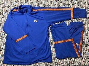 Nike Air Jordan Basketball Track Suit Jacket & Pants Dri-Fit Blue/Orange XL
