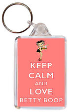 Keep Calm and Love Betty Boop - Double Sided Large Keyring Gift/Present