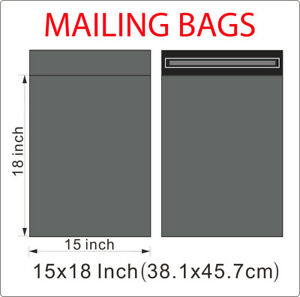 """15 x 18"""" Grey Strong Mailing Parcel Postage Plastic Post Poly Bags Self Seal UK."""