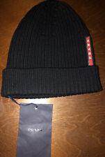 PRADA Italy Black Ribbed 100% Wool Beanie Berreto Hat Size 50 Red Logo NEW NWT