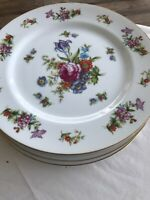 Set Of 4 Vintage Dresdania  Harmony Dinner Plate: China Japan; Flowers; Very Nic