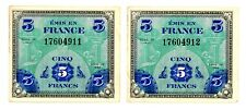 France ... P-115a ... 5 Francs ... 1944 ... *XF-AU* ... Consecutive Pair
