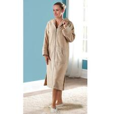 Ladies Genuine Turkish Cotton Hamam Lounger Long Robe Oatmeal Size Large