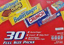 Nestle Variety Case - 30 Full Size Bars - Butterfinger Cups & Bars - Crunch
