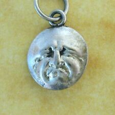 Antique German Silver Charm Miniature Puffed Man in the Moon Happy Sad Face