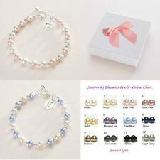 Gift for Flower Girl or Bridesmaid Pearl Bracelet engraved Wedding Jewellery