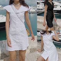 Belle Femme Coupe Slim Manche Courte Plissé Asymétrique Robe Mini Jupe Plus