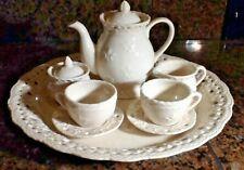 Child'S Porcelain Tea Set 10-Piece Lace Design Hearts And Flowers