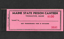 Maine Thomaston State Prison canteen Coupon full book $1.00 with 20 5  coupons.