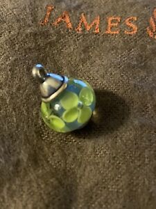 James Avery Retired Blue Green Floral Bell Finial Art Glass Bead Charm