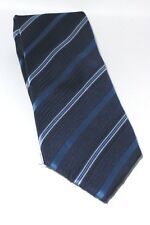Designer Hand Woven 100% Pure Silk Tie Shades of Blue and White Diagonal Stripes