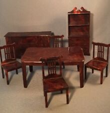 Vintage J P Dining Room Set Dollhouse Furniture Table Chairs Hutch Buffet