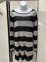 Zara Black & Silver Sparkly Stripey Knit Jumper / Sweater Size L Vintage Chic