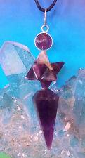 STUNNING DOUBLE AMETHYST MERKABA Star Sacred Geometry PENDANT WITH CHAIN