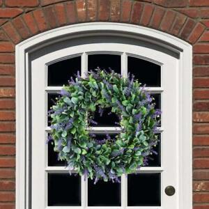 Artificial Door Wreath Hanging Lavender Flower Garland Fake Plant Home Decor Hot