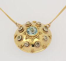 ♦ Antikes Collier in aus 585er 14 kt Gelb Gold mit Topas Diamant Blautopas Kette