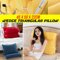 18'' 45CM Wedge Back Pillow Rest Sleep Neck Home Sofa Bed Lumbar Office Cushion