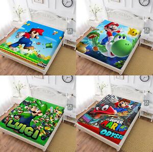 Super Mario Deep Pocket Fitted Sheet 3PCS Bed Sheet Pillowcases Mattress Cover