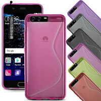 For Huawei P10 - Soft Slim Silicone Gel Rubber Case Cover + Mini Stylus
