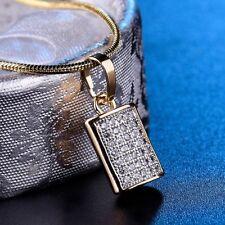 Brilliant Women White Topaz CZ Crystal Engagement Gold Filled Pendant Necklace