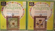 2 Vintage 1970 Framed Dried Flower Art Kits Daisy & Violet Flowers Frames Mib