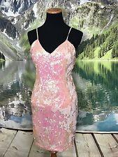 Soieblu Peach Spaghetti Strap Wet Look Sequin Dress Formal Party Tight Sz M