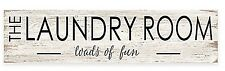 """Wood Laundry Room Sign Plaque Wall Art in White """"Loads of Fun"""""""