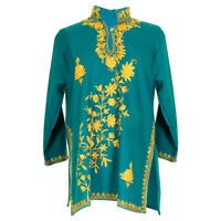 Intricitately Embroidered floral Design Women's Green Tunic Top Kurti Size 30