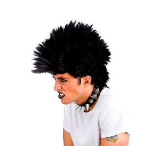 Unisex PUNK ROCKER WIG Rock Black Hair Mohican 80s Fancy Dress 1980's Tattoo