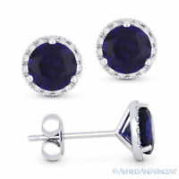 2.00ct Round Blue Lab-Made Sapphire Diamond 14k White Gold Martini Stud Earrings