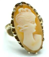 Shell Cameo Ladies Ring Size 7 Lovely Vintage Oval/Elongated 10k Yellow Gold