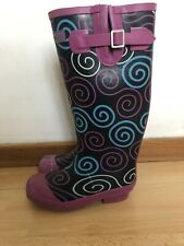 Womens TAYBERRY Black / Blue / Pink Patterned Wellies Uk Size 4