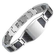 Silber Carbon Faser Id Magnetarmband für Herren - Arthritis Schmerztherapie