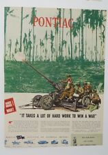 Original Print Ad 1944 PONTIAC Takes a Lot of Hard Work to Win War Tank Interior
