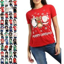 Ladies Womens Xmas Elf Belt Buttons Costume Christmas Cap Sleeve Top Tee Shirt